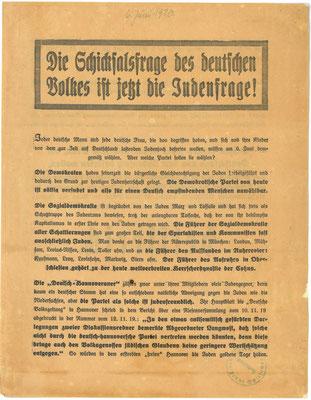 Reichstagswahl,  6. Juni 1920: Flugblatt der DNVP. StA Göttingen