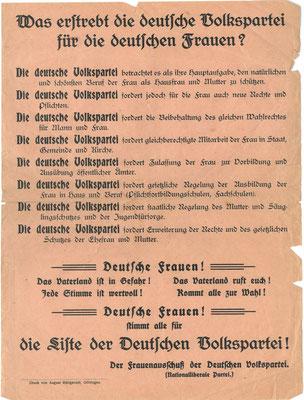 Flugzettel des Frauenausschusses der DVP zur Wahl der Nationalversammlung am 19.1.1919 undat. StA Göttingen