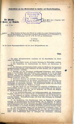 Stinnes-Legien-Abkommen 15.11.1918: Zwischen 21 gewerblichen und industriellen Arbeitgeberverbänden und sieben Gewerkschaften wird eine Kollektivvereinbarung geschlossen. Verhandlungsführern waren Hugo Stinnes und Carl Legien. StA Göttingen