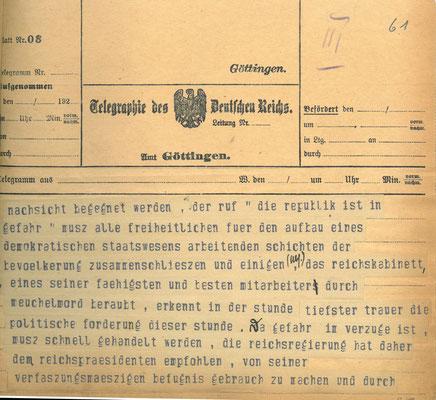 Telegramm der Reichsregierung vom 24. Juni 1922 anlässlich der Ermordung Walter Rathenaus, S. 3. StA Göttingen