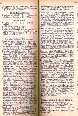 Göttinger Adressbuch, 1920: Göttinger Kriegervereine. Die Anzahl zeigt den hohen Stellenwert, der dem Militär nach wie vor zugemessen wird. StA Göttingen