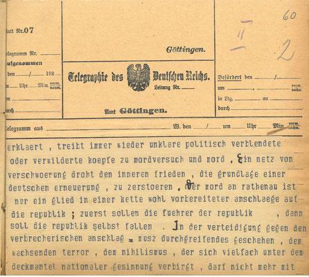 Telegramm der Reichsregierung vom 24. Juni 1922 anlässlich der Ermordung Walter Rathenaus, S. 2. StA Göttingen