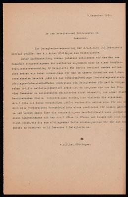Arbeiter- und Soldatenrat Göttingen, 07.12.1918: Anmeldung eines Kandidaten für die Delegiertenwahl in Hannover. Nachlass Otto Deneke, UAG.