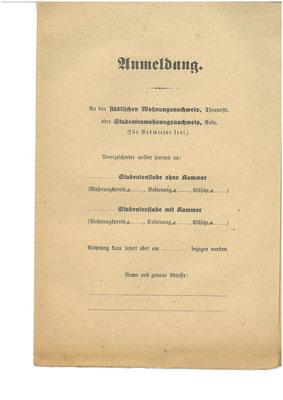 Anmeldeformular für eine Studentenwohnung undat. Die aus dem Krieg zurückkehrenden Studenten drängen ebenfalls auf den Göttinger Wohnungsmarkt.  StA Göttingen