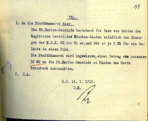 St. Marien-Gemeinde an Magistrat: Rechnung,  14. Januar 1919. StA Göttingen