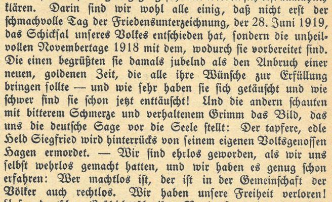 """Göttinger Gemeindeblatt, 1. Juli 1919, Monatsblatt für die lutherischen Gemeinden Göttingens: Predigt von Pastor Saathoff im Trauergottesdienst in der Albanikirche am 6. Juli 1919. Er verbreitete darin die """"Dolchstoßlüge"""". StA Göttingen"""