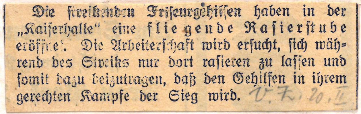 Volksblatt, 20. Februar 1920: Streikende Frisörgehilfen StA Göttingen
