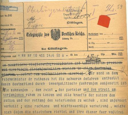 Telegramm der Reichsregierung vom 24. Juni 1922 anlässlich der Ermordung Walter Rathenaus, S. 1. StA Göttingen