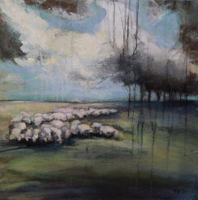 Schafe im Bergischen I, 40/40 cm, 2020
