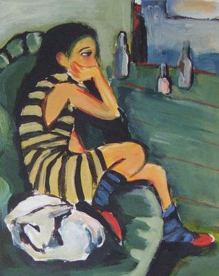 nach E.L. Kirchner, mit Schaf anstelle der Katze
