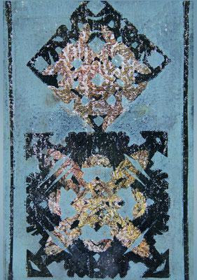 """Wandfragment"", 20 x 30 cm, Monotypie"