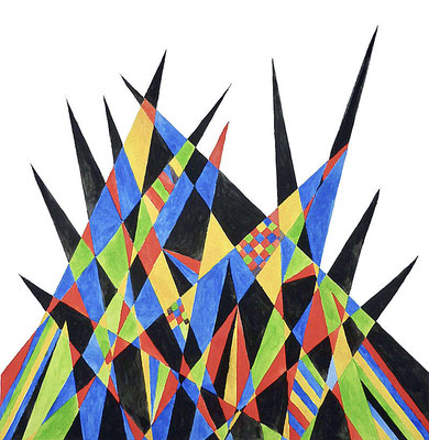 Aquarell, 50 cm x 50 cm, Kriegerische Welt, 2019