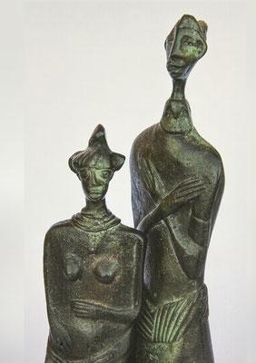 """""""Paar"""", Bronzeplastiken, Höhe 18 cm und 14 cm"""