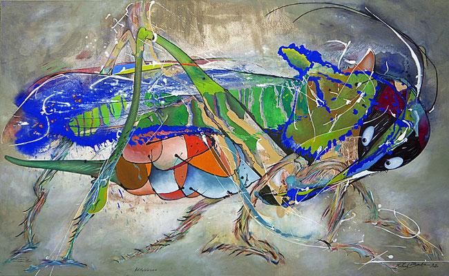 """2019, """"endemische Sattelschrecke mit weichem Bein"""" Acryl, Kreiden und Stifte, 160 x 260 cm, auf Leinwand"""