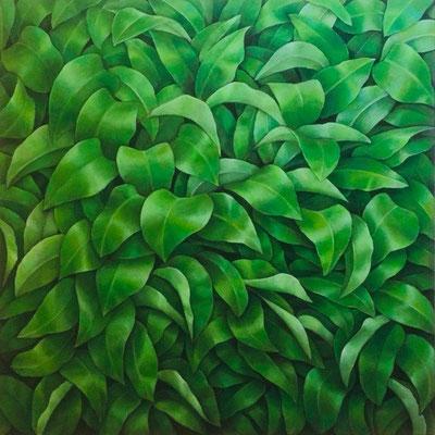 Blätter, Öl auf Leinwand, 100 x 100 cm, 2020