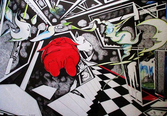 """""""Großer Traum …"""" Tuschezeichnung, coloriert,  70 cm x 100 cm"""