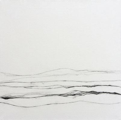 Gespinst Nr.11, 120 x 120 cm, Carbonfaser auf Leinwand, 2016