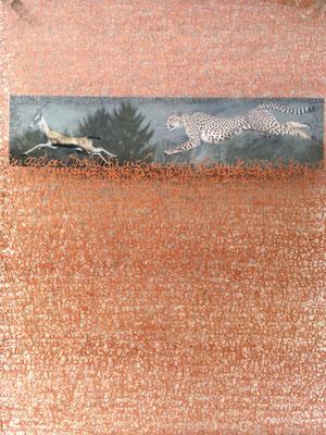 Die Lust der Beute erlegt zu werden, handgeschriebener Text, Kupferstift auf Acrylglas, Farbkopie, Spiegelung,  21 x 29,7 x 1,8 cm, 2017