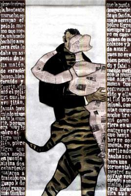 DER TIGER MILLAN,  1996 200/140 cm. Collage und Malerei auf Leinwand