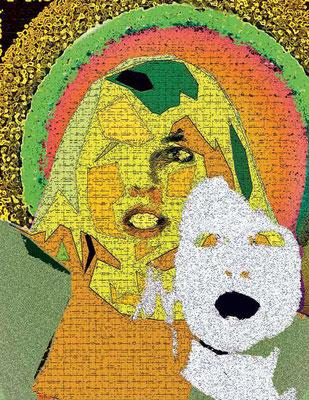 Joditzer Hexe mit Maske, Fotografie/Digitalcollage, 21 x 29,7 cm, 2018