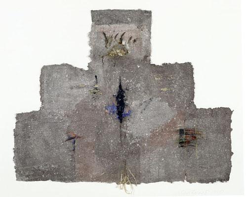 Gewand,  83 cm x 95 cm,  Papierrelief