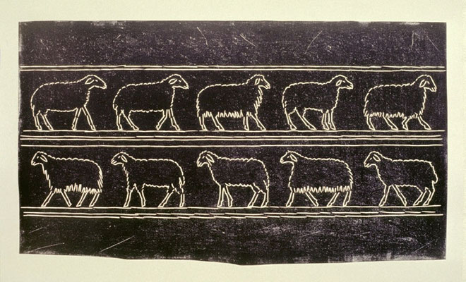 Schafe ägyptisch zwei Reihen, 1993, Linoldruck