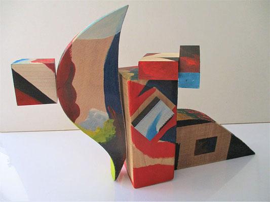 """Schwung in den Tag …"", Objekt, Holz, Acryl-bemalt, Höhe 23 cm, Breite 34 cm, Tiefe 11 cm"