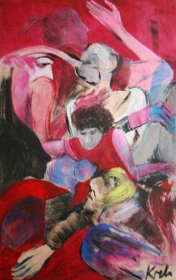 """Karambolage"", 2019, Acryl auf Acrylglas und Holzplatte, 100 cm x 150 cm (#1965 )"