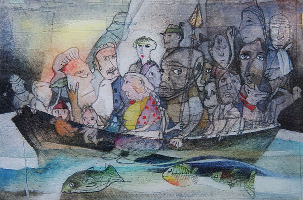 """""""Narrenschiff"""", 10 x 15 cm, Aquarell/Gouache/Bleistift"""