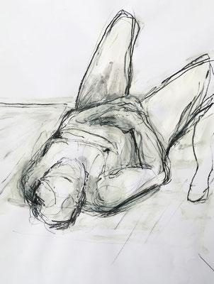 Akt liegend, Mischtechnik, 42 x 60 cm, 2020