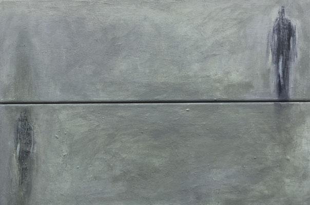 2 Figuren mit Schatten, Acryl, 2-teilig, 60 x 40 cm, 2020