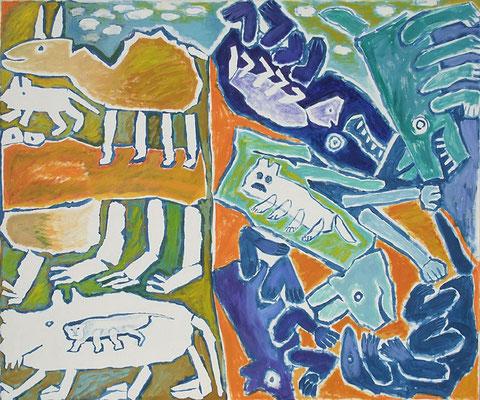 Die Erschaffung der Tiere – die Zerstörung der Tiere (hommage à Meister Bertram), 1986, Acryl, Öl auf Leinwand