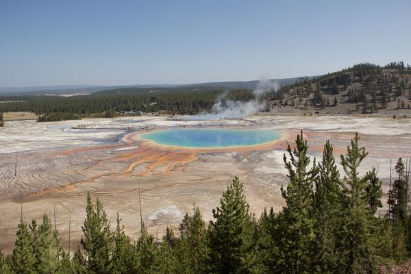 Auch eine Realität im Yellowstone. Nebst den schönen Farben sind auch die Menschenmassen omnipräsent.