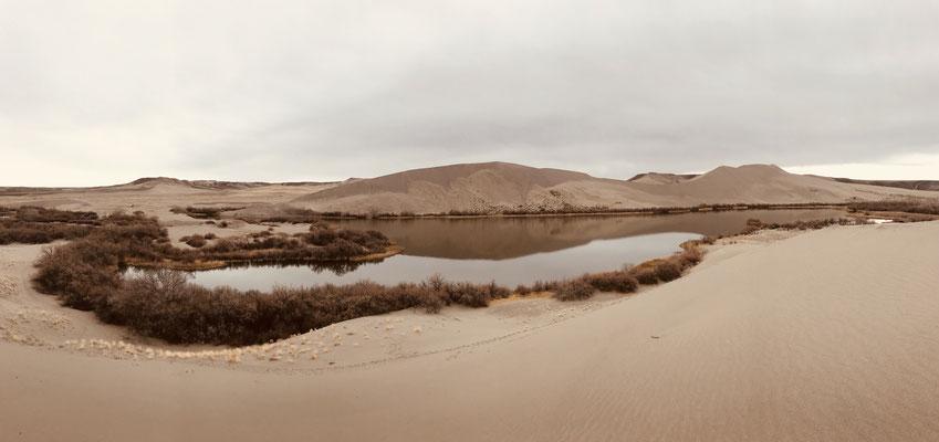Spezielle Windsysteme sorgen dafür, dass der Sand der Umgebung hier liegen bleibt. Wasser und Dünen auf einem Bild, ungewohnt für das Auge