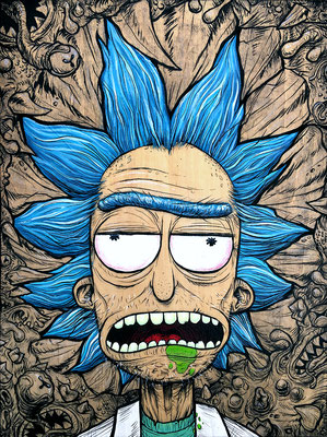 """Wubba Lubba Dub Dub"", Acrylic and ink on wood panel."