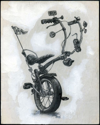 """Ride"", graphite and matte medium transfer on panel. Collection of Paul Alvarez III"