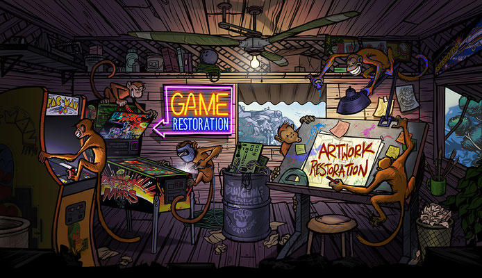 "Illustration for ""Lost Arcade"" website: Workshop page"