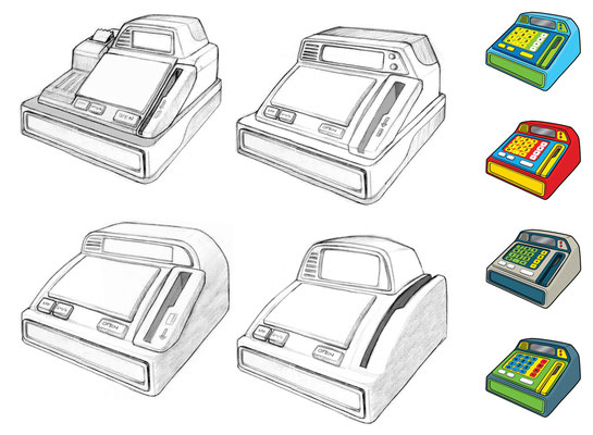 Toy cash register designs and color comps