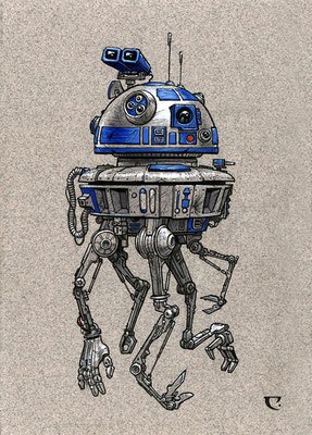 """Composite Droid"", Micron, gauche and white charcoal on toned paper. Exhibited and sold at La Bodega Gallery."