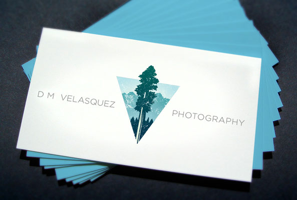 Logo design and business card mockup for D.M. Velasquez Photography Visalia, CA.