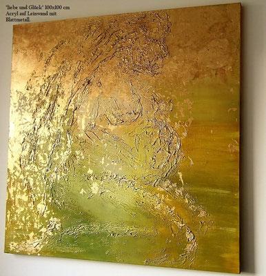 Das Leben. Acryl auf Leinwand 100cm x 100cm mit Blattmetall und Acrylmasse.