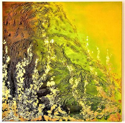 Die Erde. Acryl auf Leinwand 100cm x 100cm mit Balttmetall und Acrylmasse.