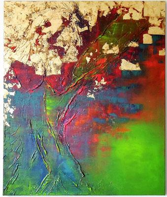 El Arbol. Acryl auf Leinwand 100 cm x 120 cm mit Blattmetall und Acrylmasse.
