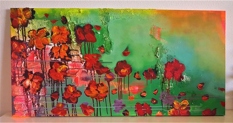 Flores   80cmx 150cm Acrylmasse und Acrylfarbe auf Leinwand.