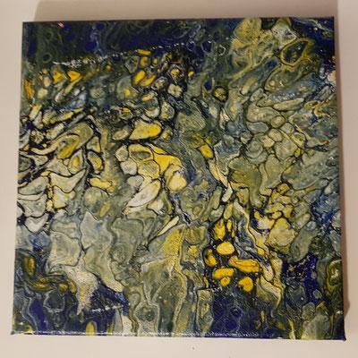 Acrylfluid auf Leindwand Nr.3 / 20 x 20cm. Preis 15 Eur