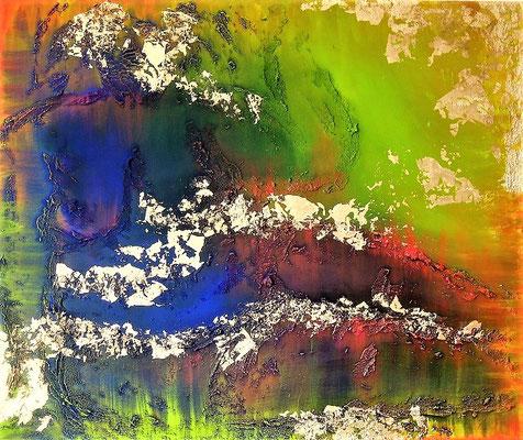 Die Weiblichkeit. Acryl auf Leinwand 100 cm x 120 cm mit Blattmetall und Acrylmasse.