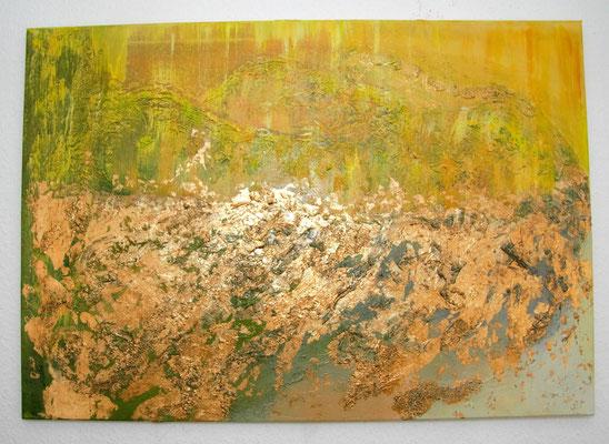 Los amantes. 100cm x 70cm Acryl auf Leinwand, Blattmetall und Acrylmasse.
