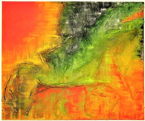 El Dragon chino. 100cm x 120cm Acryl farbe auf Leinwand und Acrylmasse.