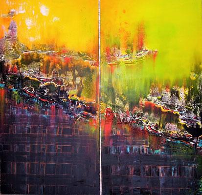 Cielo y Tierra. 2m x 2m Acrylmasse und Acrylfarbe auf Leinwand.