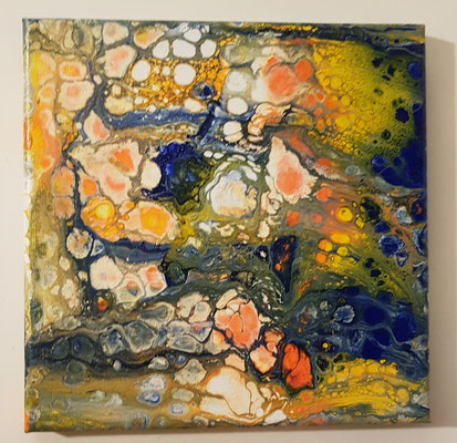 Acrylfluid auf Leindwand Nr.2 /20 x 20cm.